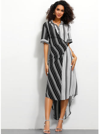 Striped/Patchwork Short Sleeves A-line Asymmetrical Casual/Elegant Dresses