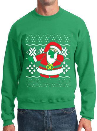 Spandex do Poliéster Impressão Men Camisola de Natal