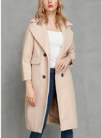 Polyester Long Sleeves Plain Woolen Coats