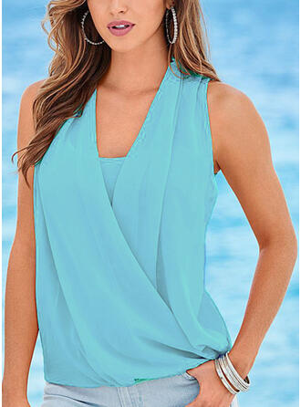 Solid V-Neck Sleeveless Casual Elegant Tank Tops (1003266615)
