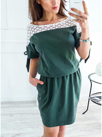 Lace/Patchwork 1/2 Sleeves Sheath Above Knee Casual Dresses