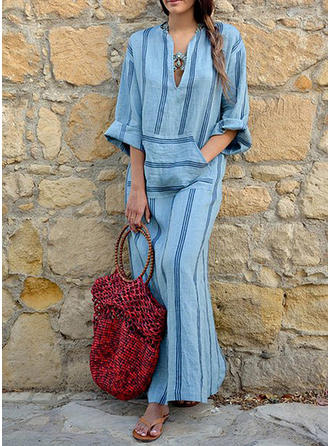 Print/Striped Long Sleeves Shift Maxi Vacation Dresses