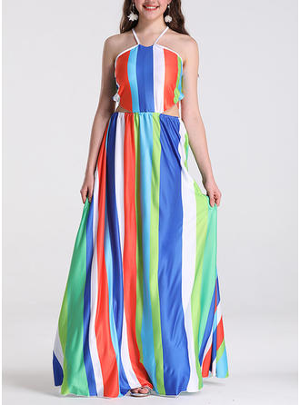 Color-block Sleeveless A-line Maxi Casual/Vacation Dresses