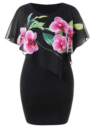 Print Floral Round Neck Knee Length Bodycon Dress