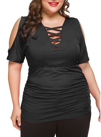 Solid V-Neck 1/2 Sleeves Casual Plus Size T-shirts