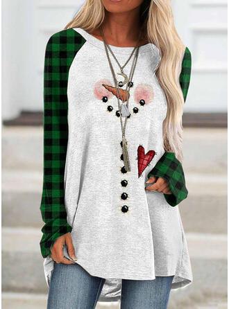 Print Grid rund hals Lange ærmer Jule sweatshirt