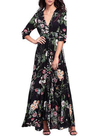 Print Bohemian Floral V-neck Maxi Shift Dress