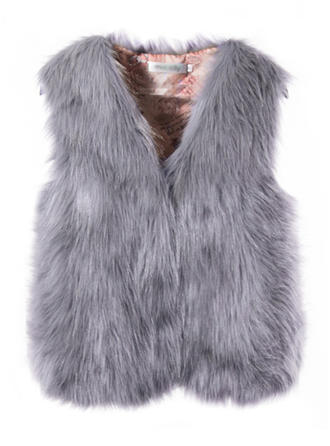 Faux Fur Sleeveless Plain Vest