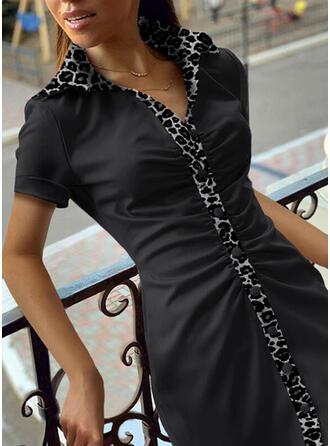 lampart Krótkie rękawy Pokrowiec Nad kolana Casual Koszula Sukienki