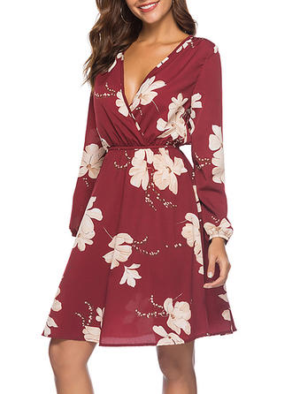 Print/Floral Long Sleeves A-line Knee Length Casual/Vacation Dresses