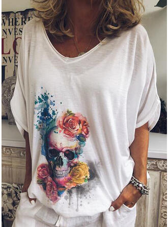 V-Neck 3/4 Sleeves Casual T-shirts