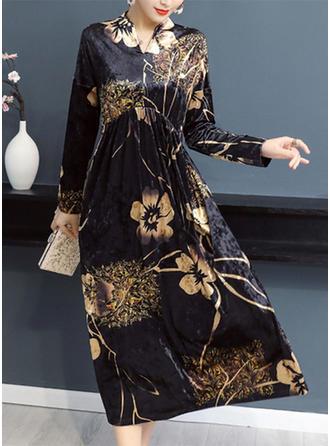 Wydrukować Kwiatowy Litera V Midi Sukienka Trapezowa