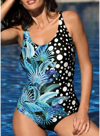 Floral Print Strap Round Neck Vintage Boho One-piece Swimsuits