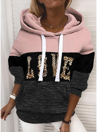 Print Color Block Leopard Long Sleeves Hoodie