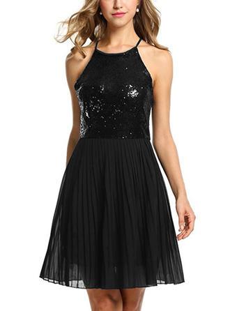 Sequins Halter Above Knee A-line Dress
