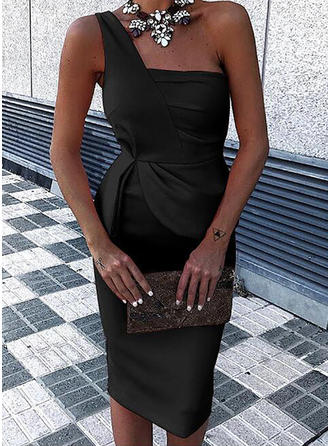 Solid One-Shoulder Knee Length Bodycon Dress