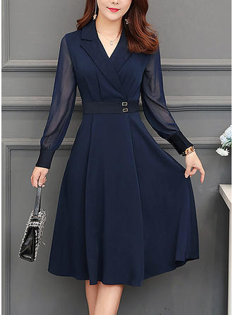 Solid Long Sleeves A-line Knee Length Vintage/Casual/Elegant Dresses