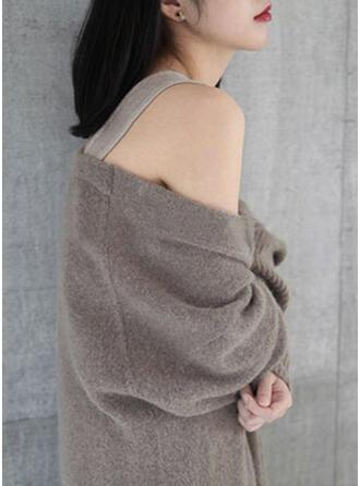 Polyester Long Sleeves Plain Cardigans