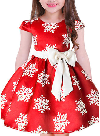 Girls Round Neck Print Bow Cute Party Dress