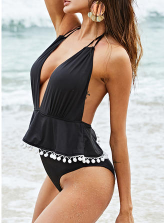 Solid Color Backless Halter V-Neck Sexy Beautiful Attractive Plus Size One-piece Swimsuits