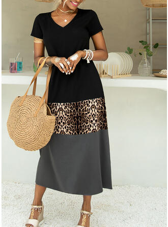 Color Block/Leopard Short Sleeves Shift Casual/Vacation Maxi Dresses