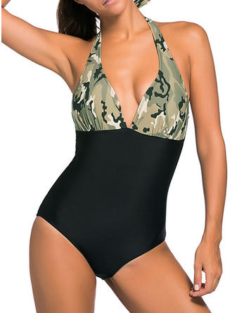 Colorful Halter Fashionable Plus Size One-piece Swimsuits