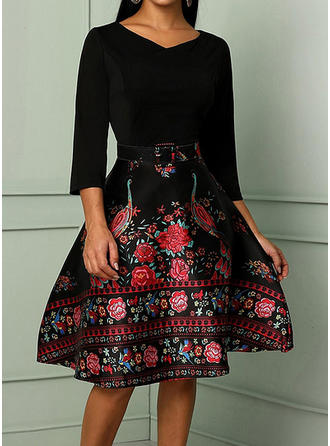 Print/Floral 3/4 Sleeves A-line Knee Length Dresses