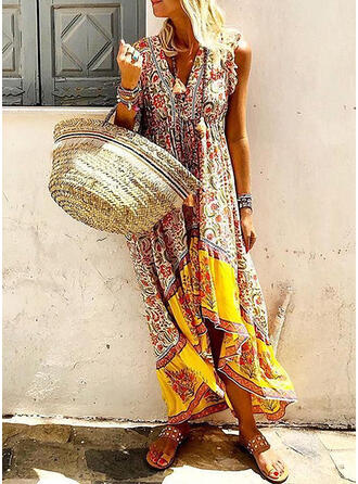 Print/Floral Cap Sleeve Shift Asymmetrical Casual/Boho/Vacation Dresses