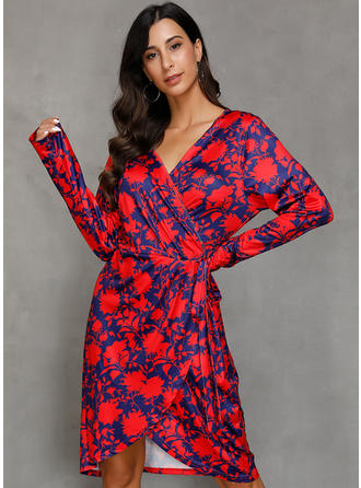 Print Long Sleeves Bodycon Midi Casual/Elegant Dresses