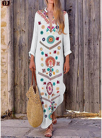 Print/Floral Long Sleeves Shift Maxi Casual/Vacation Dresses