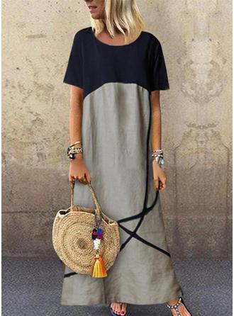 Nadrukowana/Wyszczuplająca Krótkie rękawy Koktajlowa Maxi Casual Sukienki