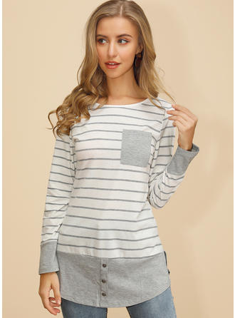 Color Block Striped Round Neck Long Sleeves Casual Knit Blouses