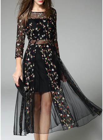 Polyester/Tulle With Embroidery Midi Dress