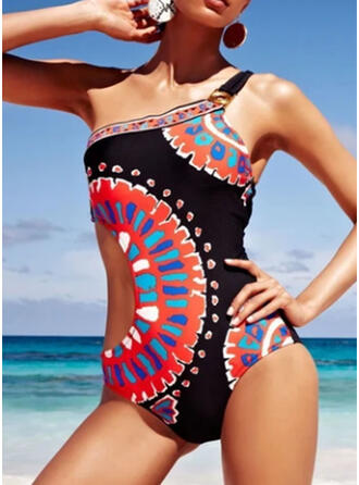 Print Monokini One-Shoulder Elegant Bohemian One-piece Swimsuits