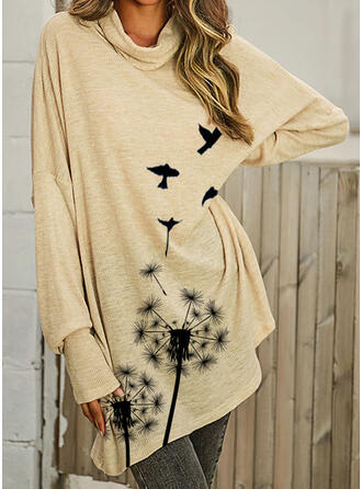 Dandelion Butterfly High Neck Long Sleeves Sweatshirt