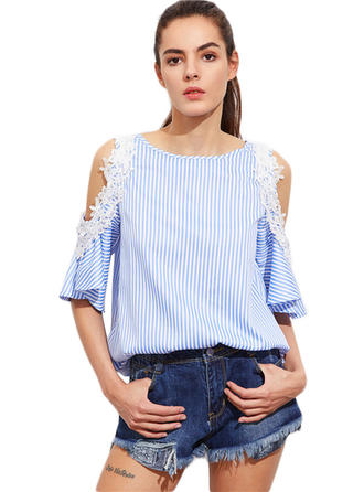 Cotton Blends Cold Shoulder Striped 1/2 Sleeves Ruffle Blouses