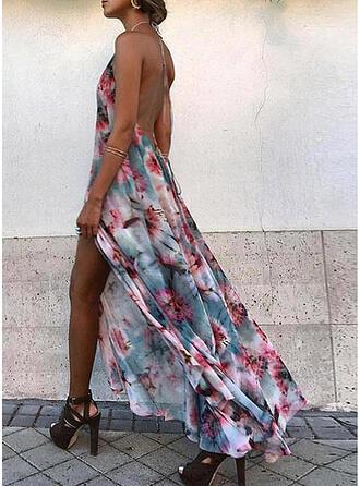 Impresión/Floral/Escotado por detrás Sin mangas Acampanado Patinador Sexy/Vacaciones Maxi Vestidos