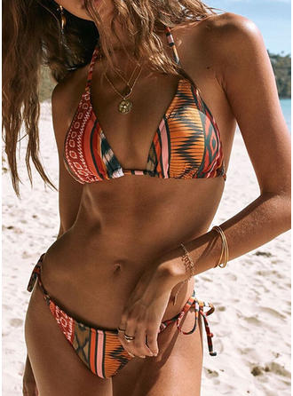 Low Waist Drawstring V-neck Colorful Bikinis Swimsuits