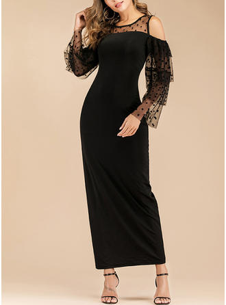 Solid Long Sleeves Sheath Midi Little Black/Casual Dresses