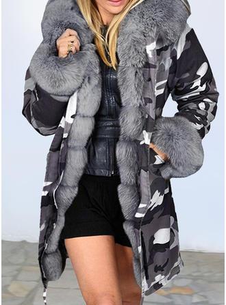 Polyester Long Sleeves Print Blend Coats