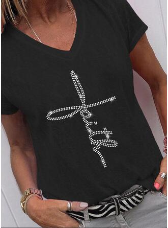 Figure Sequins V-Neck Short Sleeves T-shirts
