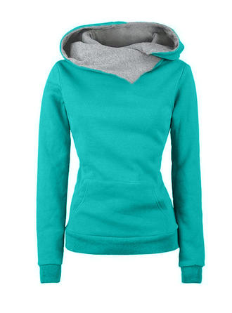 Cotton Blends Plain Sweatshirt