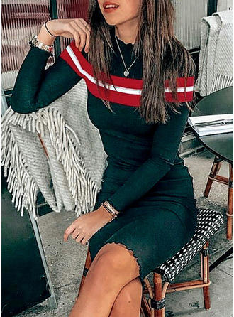 Striped Stand collar Knee Length Bodycon Dress