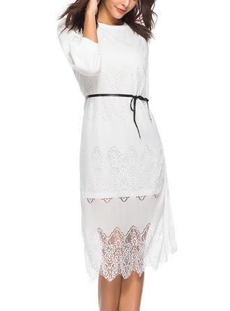 Lace Solid Round Neck Midi A-line Dress