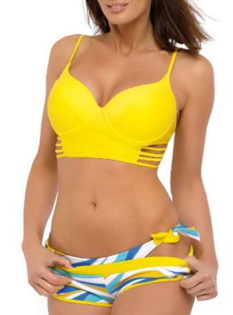 Print Patchwork Strap Elegant Fashionable Bikinis Swimsuits