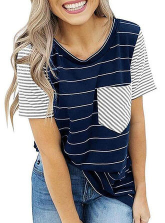 Striped Round Neck Short Sleeves Casual Knit T-shirt