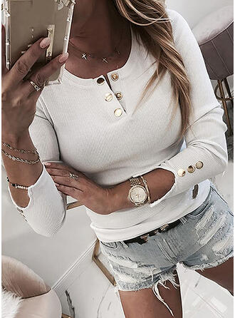 Solid Round Neck Long Sleeves Button Up Casual T-shirts