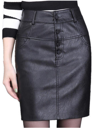 Leather/PU Plain Above Knee Pencil Skirts