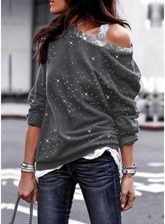 Paillettes One Shoulder Manches longues Sweat-shirts