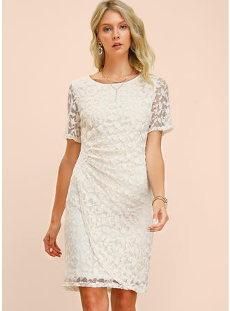 Lace/Solid Short Sleeves Sheath Knee Length Casual/Elegant Dresses